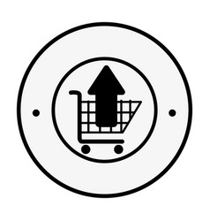 monochrome circular emblem with shopping cart and vector image