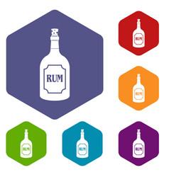 rum icons set hexagon vector image