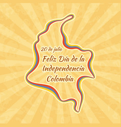 Happy independence day in colombia greeting card vector