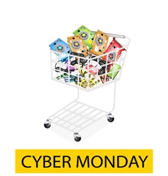 Computer hardware in cyber monday shopping cart vector