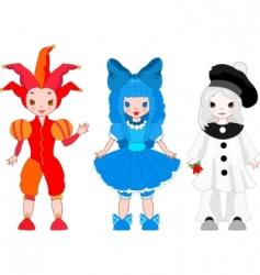 Harlequin, Pierrot, Columbian vector image