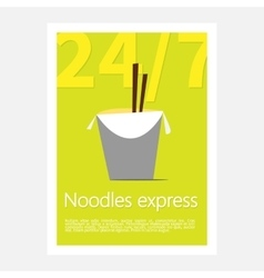 Noodles restaurant poster template poster of vector