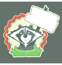 Hand drawn label of character racoon with wooden vector