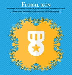 Award medal of honor floral flat design on a blue vector