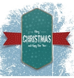 Christmas green banner template with white ribbon vector