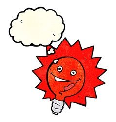 Happy flashing red light bulb cartoon with thought vector