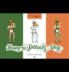 Girl with beer silhouette against irish colors st vector