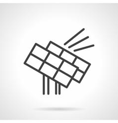 Solar power station black line design icon vector