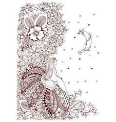 Zen tangle little girl vector