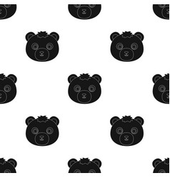 Bear muzzle icon in black style isolated on white vector