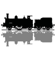 black silhouette of a vintage steam locomotive vector image