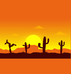 cannon desert with cactus silhouette vector image vector image
