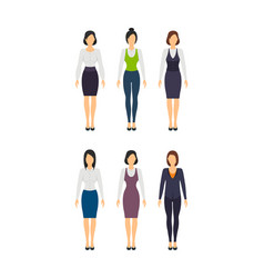 cartoon business woman set staff dress style vector image