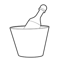 Champagne in bucket icon outline style vector image vector image