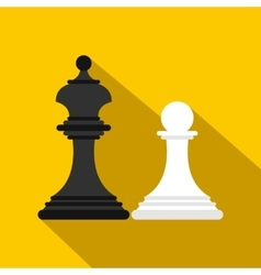 Chess king and chess pawn icon flat style vector image