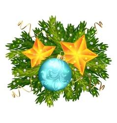 Christmas ball and stars isolated vector image