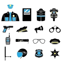 Color set collection icons of police vector