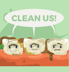 dirty sad unhappy teeth character vector image