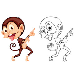 Doodle animal for cute monkey vector