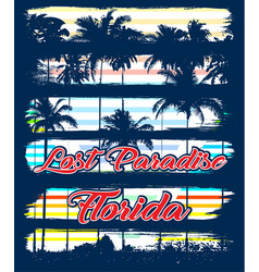 Florida beach typography tee graphic design vector