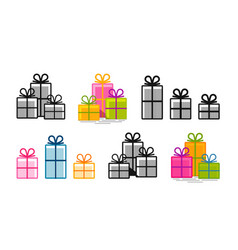 Gifts set icons surprise shopping box symbol vector