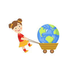 Girl pulling earth planet in a cart vector