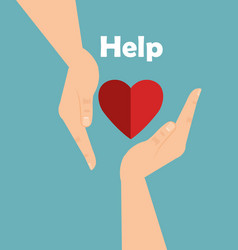hands with heart help vector image