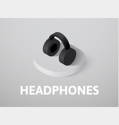 Headphones isometric icon isolated on color vector