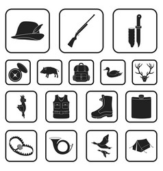 Hunting and trophy black icons in set collection vector