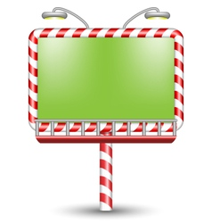 illuminated candy cane billboard on white vector image vector image