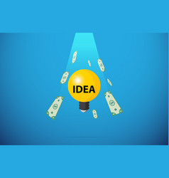 light bulb with bank note falling from the sky vector image
