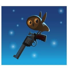 Little cute owl stole the big gun blue background vector image