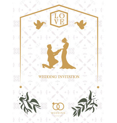 Love wedding invitation retro white background vec vector