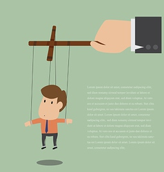 Marionette of businessman with rope controlled vector