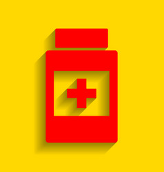 medical container sign red icon with soft vector image