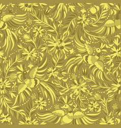 mexican embroidery gold seamless pattern vector image vector image