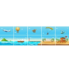 Nature scene with ocean and beach vector