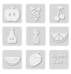 Paper set of fruits icons Papery stickers with vector image