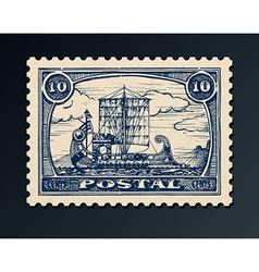 Postage stamp with ship vector