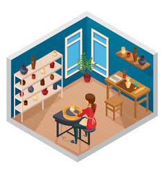 Pottery isometric workspace composition vector