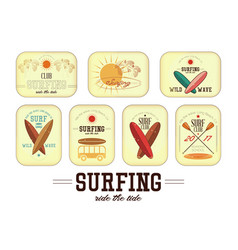 retro surfing labels vector image vector image