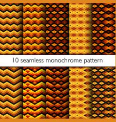 Set of ten seamless zig zag pattern vector
