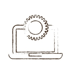 Sketch draw laptop technology gears colaboration vector
