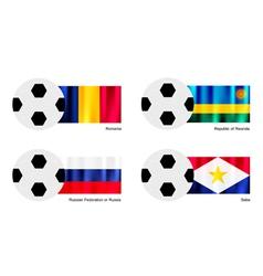 Soccer Ball of Romania Rwanda Russia and Saba vector image