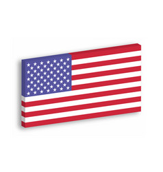 usa 3d flag hanging on the white wall withg vector image