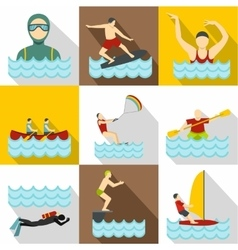 Water stay icons set flat style vector