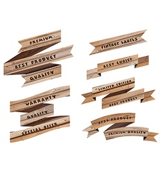 Wood banners and ribbons design vector