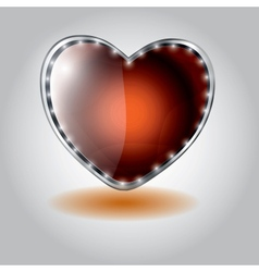 Orange heart shaped glass button on valenti vector