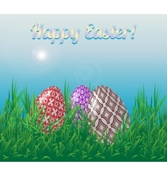 Template easter greeting card three easter eggs vector