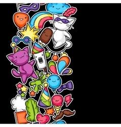 Carnival party kawaii seamless pattern Cute vector image